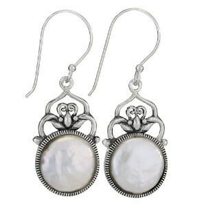 Sterling Silver Large Coin Pearl Earrings - ETM4274