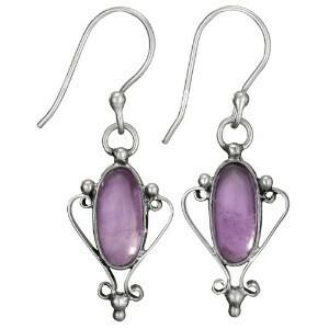 Sterling Silver Oval Amethyst Scroll Earrings - ETM4357