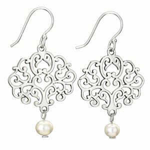 Sterling Silver Filigree Pearl Earrings - ETM3285