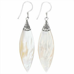 Sterling Silver Large Mother of Pearl Marquise Earrings - ETM3625