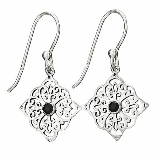 Sterling Silver Filigree Faceted Black Onyx Earrings - ETM3998