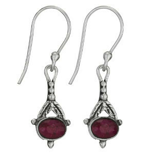 Sterling Silver Ruby Feather Earrings - ETM4339
