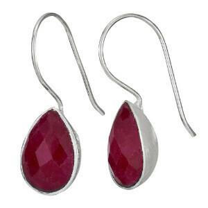 Sterling Silver Faceted Ruby Teardrop Earrings - ETM4260