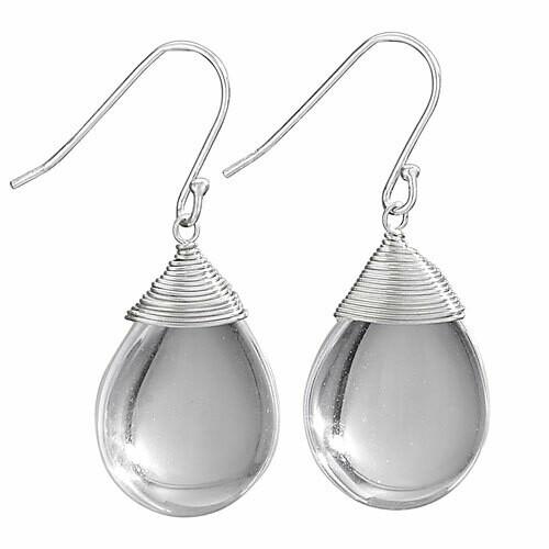 Sterling Silver Quartz Crystal Drop Earrings - ETM3961