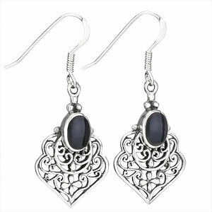 Sterling Silver Black Onyx Filigree Earrings - ETM3679