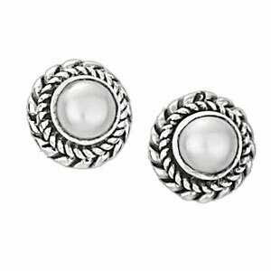 Sterling Silver Pearl Braided Bezel Posts - ETM3037