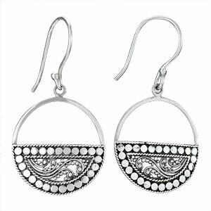 Sterling Silver Circular Granulated Bali Earrings - ETM3649