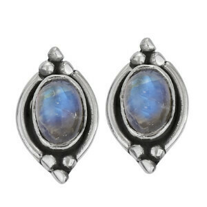 Sterling Silver Dotted Oval Rainbow Moonstone Posts - ETM4309