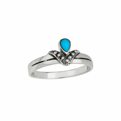 Sterling Silver Angled Turquoise Ring - RTM4143