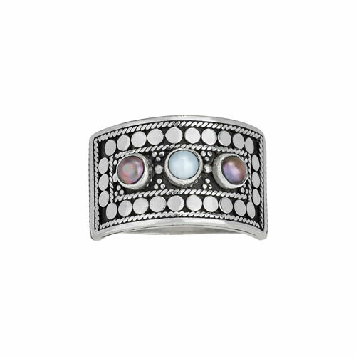 Sterling Silver 3 Pearl Bali Ring - RTM4116