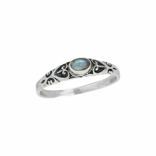Sterling Silver Oval Labradorite Ring - RTM4087