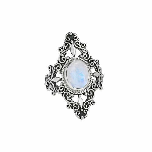 Sterling Silver Rainbow Moonstone Ring - RTM4119