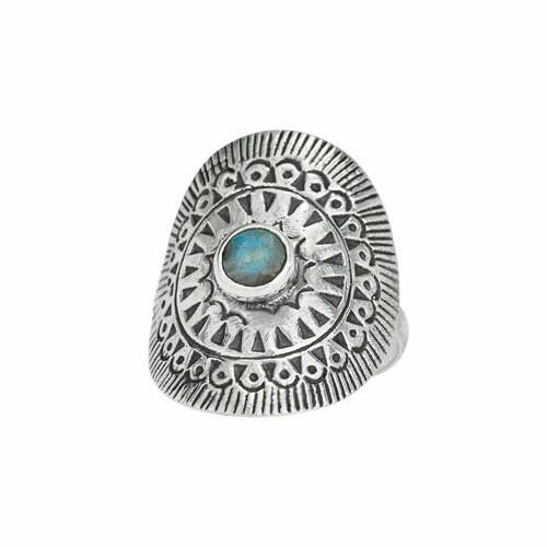 Sterling Silver Labradorite Shield Ring - RTM4080