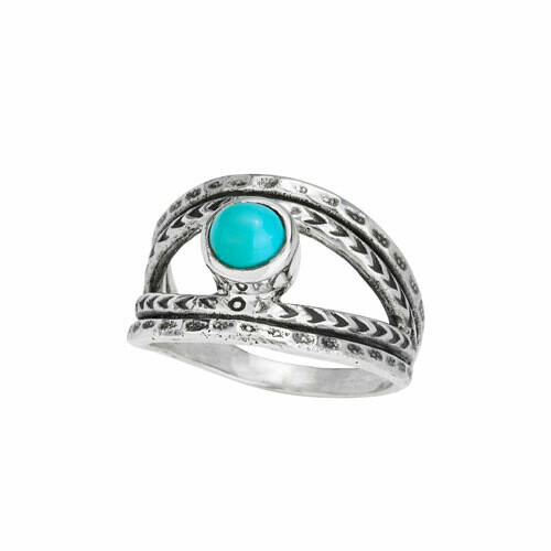 Sterling Silver Turquoise Split Ring - RTM4084