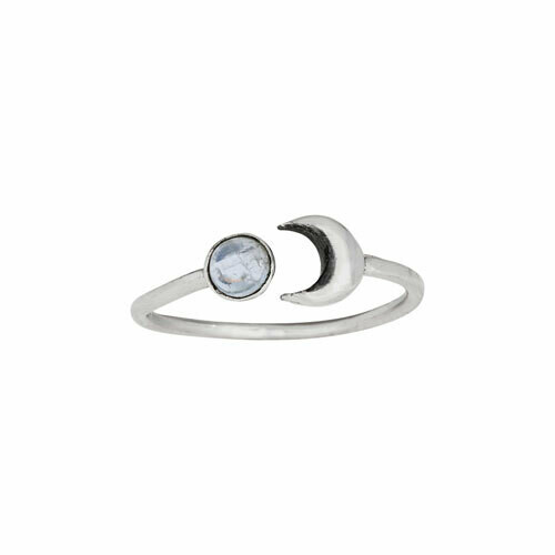 Sterling Silver Moon + Moonstone Ring - RTM4083
