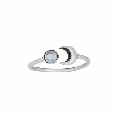 Sterling Silver Moon + Moonstone Ring - RTM4083