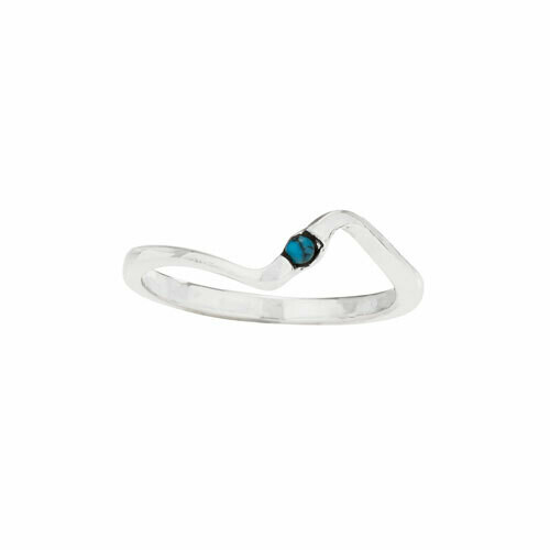 Sterling Silver Turquoise Dot Wave Ring - RTM4340