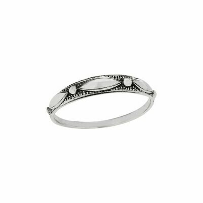 Sterling Silver Dot + Marquis Stack Ring - RTM4278