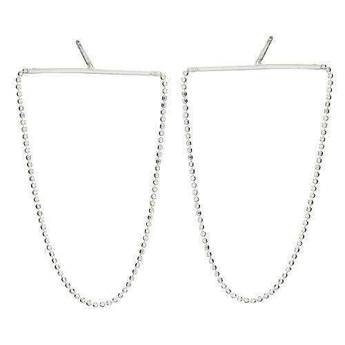 Sterling Silver Bar Chain Post Earrings - ETM4812