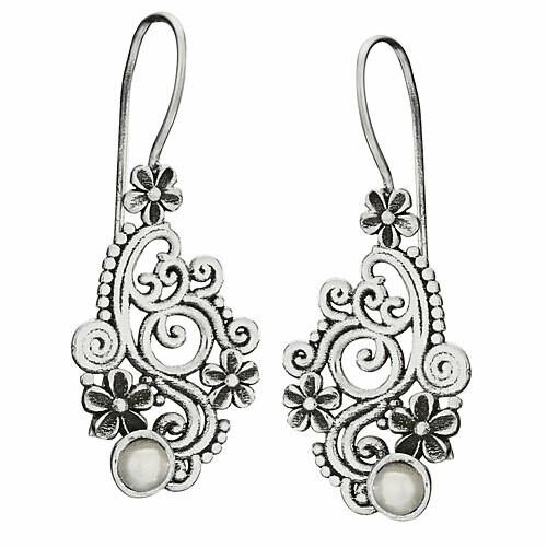 Sterling SIlver Scrolling Flowers Pearl Earrings - ETM4783
