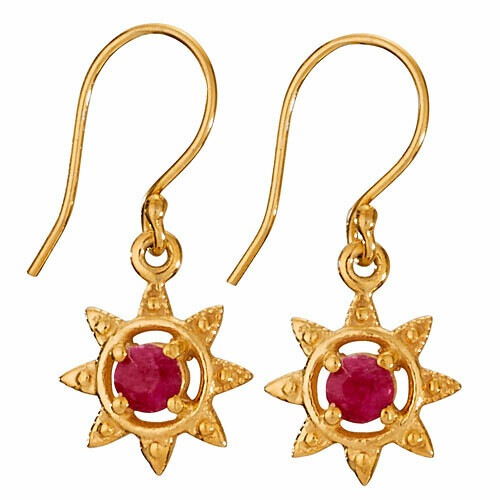 Gold Plated Sterling Silver Ruby Earrings - ETM4758