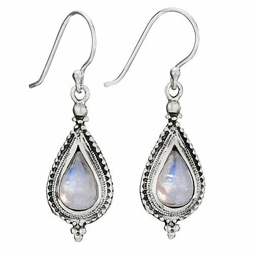 Sterling Silver Rainbow Moonstone Teardrop Earrings - ETM4807