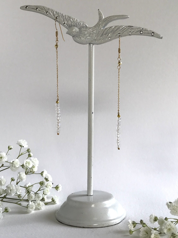 Moonstone & Pyrite Iris Earrings -  GDFDSE6