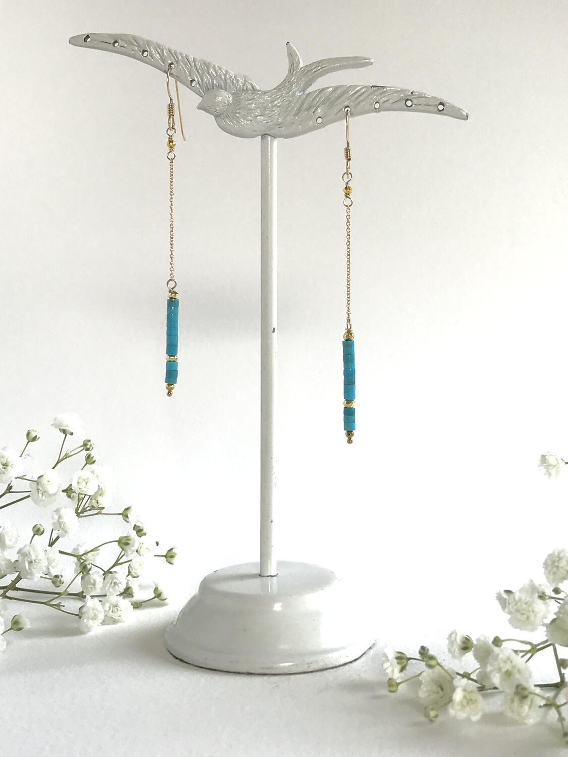 Turquoise & Pyrite Iris Earrings - GDFDSE7