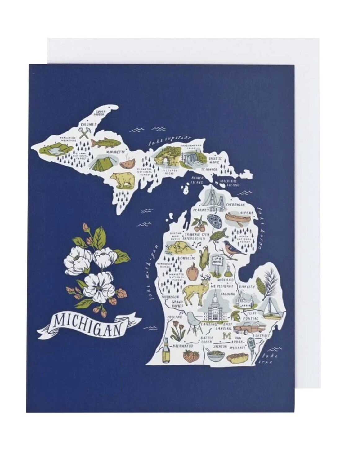 Illustrated Michigan Map Greeting Card - CB2