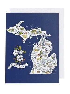 Illustrated Michigan Map Greeting Card - CB2