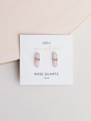 Rose Quartz Mineral Point Posts - 18k Gold Over Sterling Silver