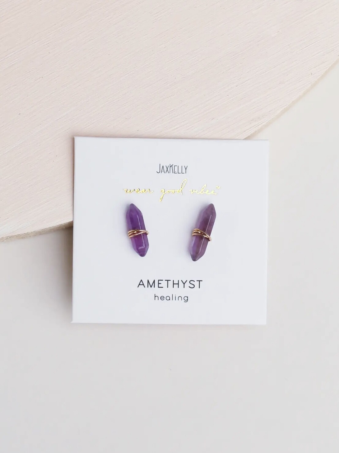 Amethyst Mineral Point Posts - 18k Gold Over Sterling Silver