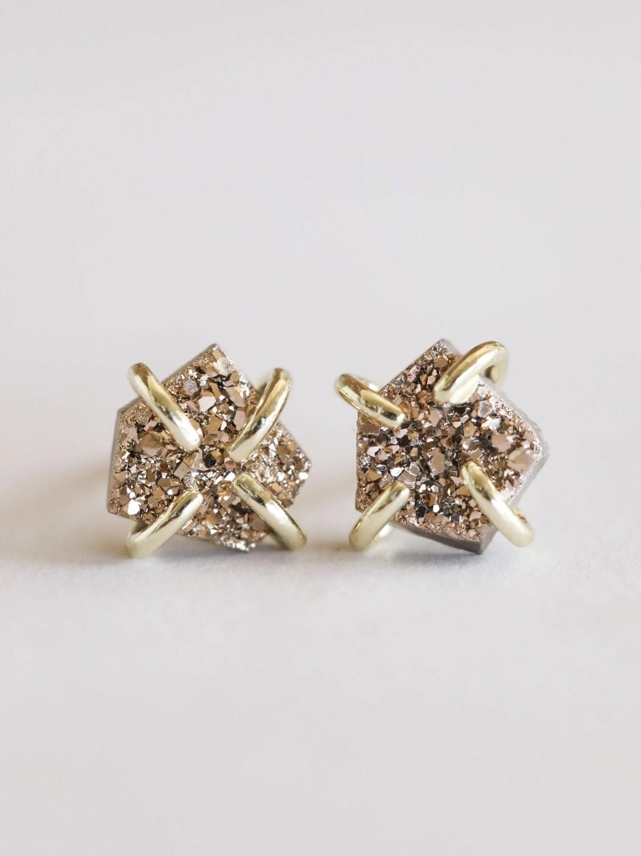 Rose Gold Druzy Prong Posts - 18k Gold Over Silver - JK32