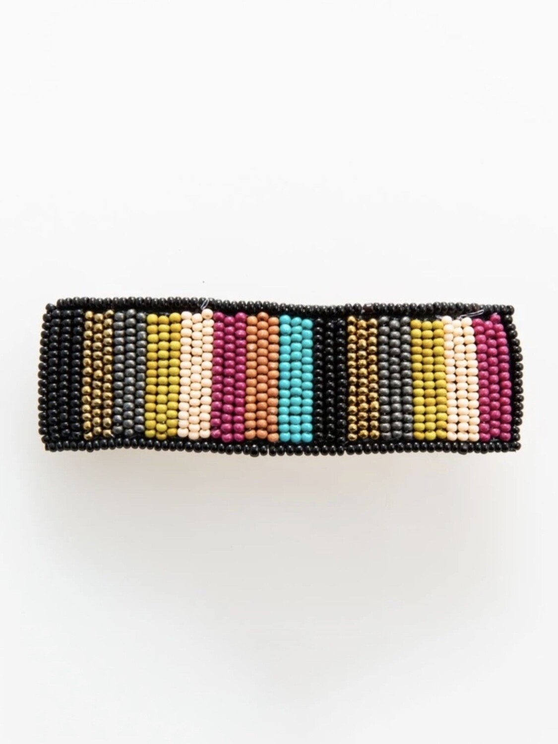 Muted Color Stripe Lg Hair Barrette - IAHA1