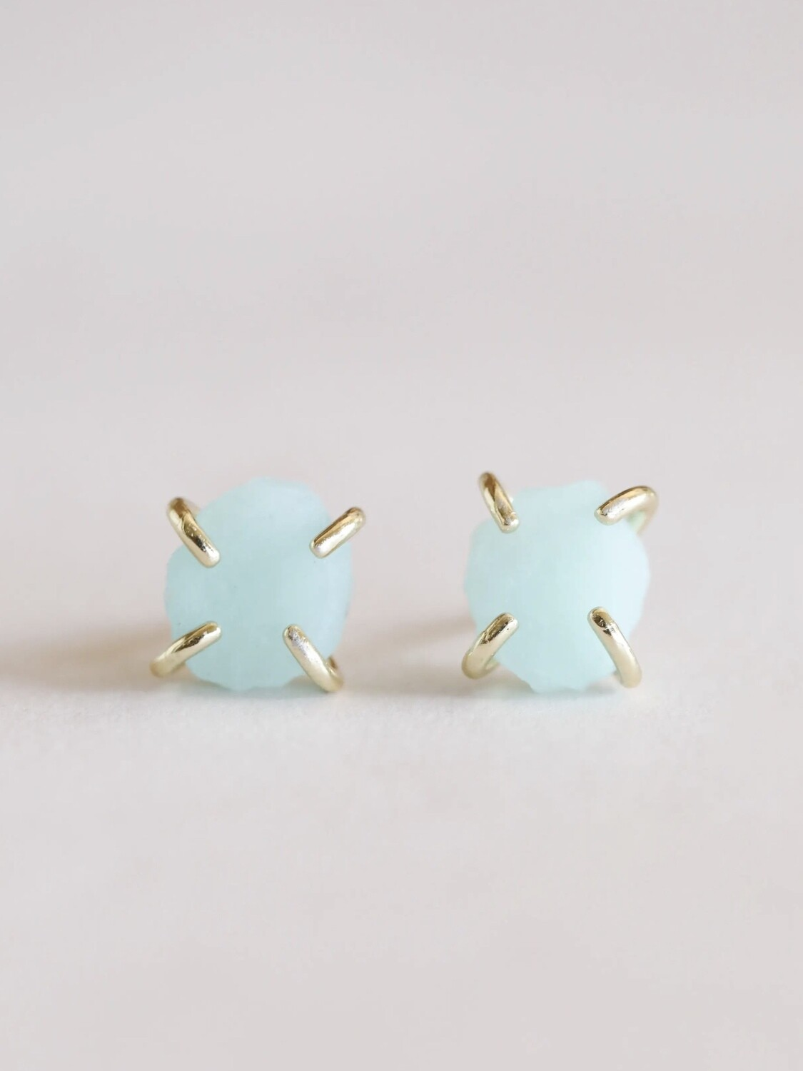 Amazonite Gemstone Prong Posts - 18k Gold Over Silver - JK33