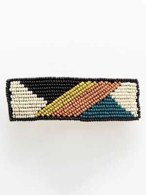 Peacock + Citron Diagonal Stripe Lg Hair Barrette - IAHA1