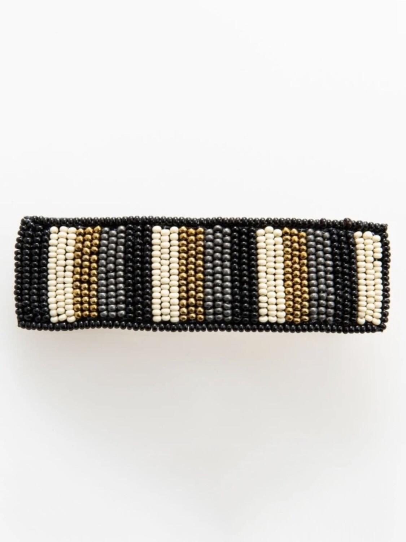 Black + Gold Stripe Lg Hair Barrette - IAHA1