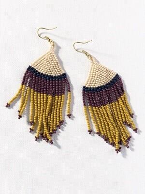 Ivory + Citron Stripe Fringe Earrings - IAE21