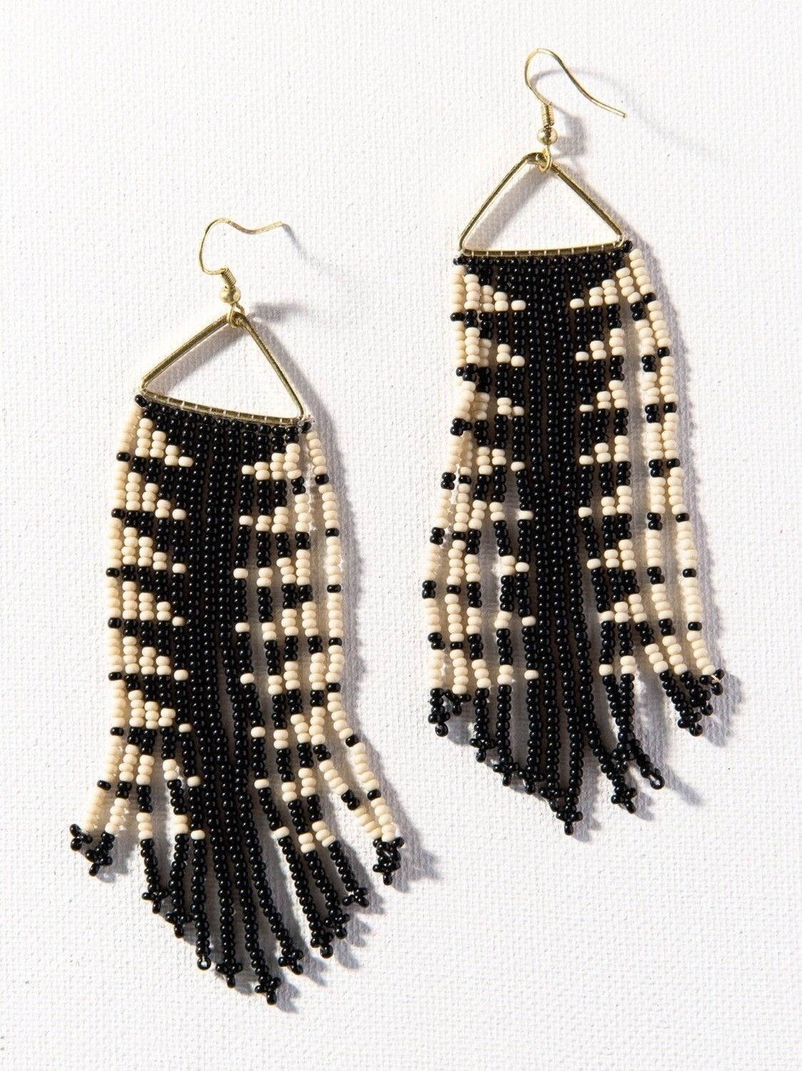Black + Ivory Triangle Frame Fringe Earrings - IAE23