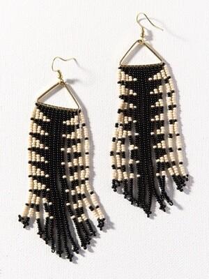 Black + Ivory Triangle Frame Fringe Earrings - IAE23