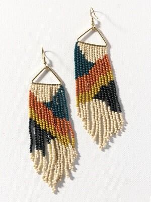 Peacock + Citron Triangle Frame Fringe Earrings - IAE23