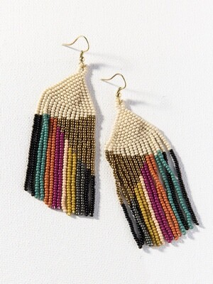 Ivory + Muted Colors Stripe Fringe Earrings - IAE22