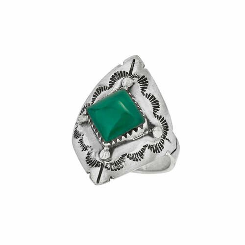 Sterling Silver Diamond Green Onyx Ring - RTM4373