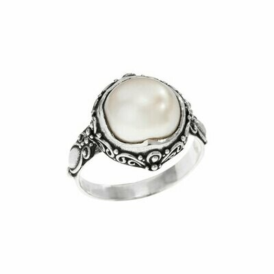 Sterling Silver Ornate Mabe Pearl RIng - RTM4391
