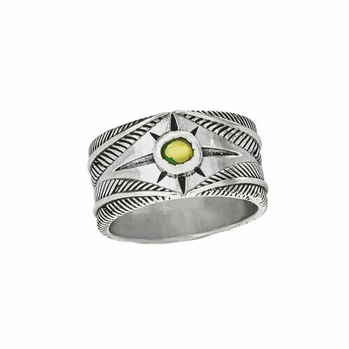 Sterling Silver & Opal Wide Band - RTM4366