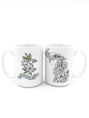 Illustrated Michigan Map Ceramic Mug