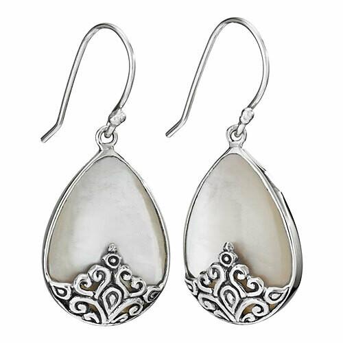 Sterling Silver Mother of Pearl Teardrop Earrings - ETM4884