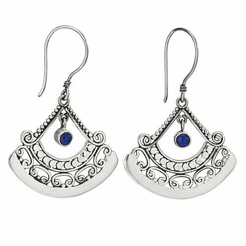 Sterling Silver Lapis Filigree Fan Earrings - ETM4886