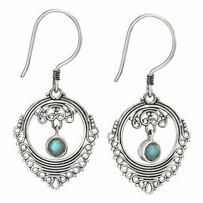 Sterling Silver Labradorite Filligree Earrings - ETM4885
