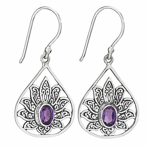Sterling Silver Faceted Amethyst Filigree Earrings - ETM4883